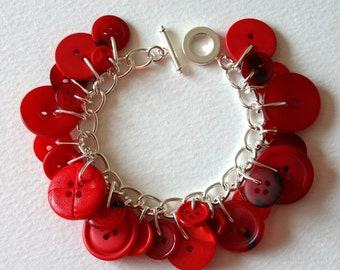 Red Rose Button Bracelet
