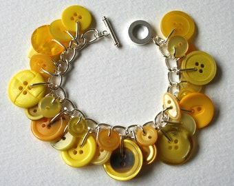 Button Charm Bracelet Bumblebee Yellow