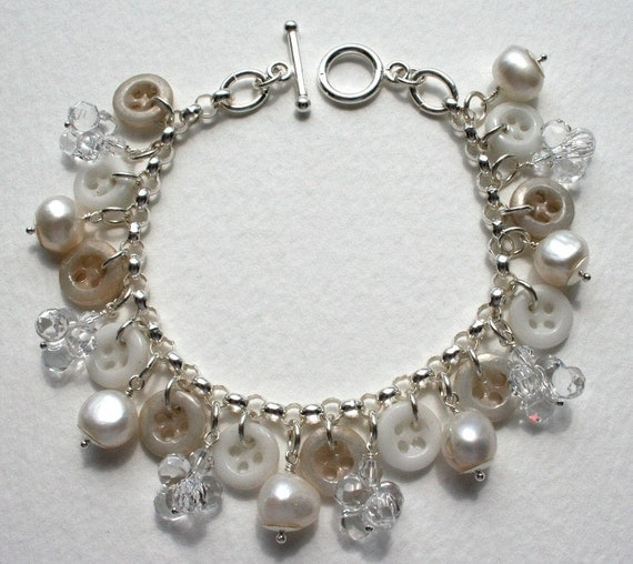 Sterling Silver Crystal Pearl and Antique Button Bracelet