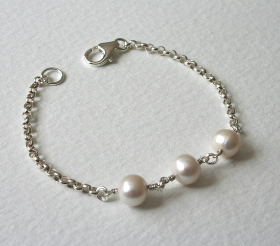 Freshwater Pearl Trio Sterling Silver Bracelet