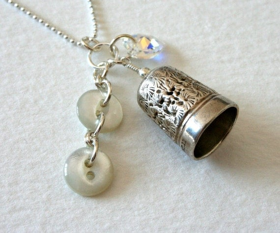 Vintage Thimble and Antique Button and Crystal Sterling Silver Necklace