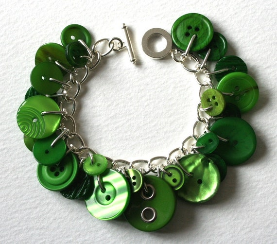 Button Bracelet Emerald Green Vintage Buttons