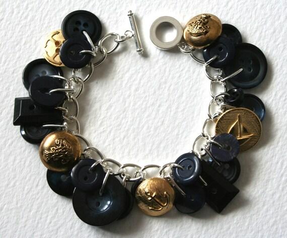 Button Bracelet Hello Sailor Nautical Navy