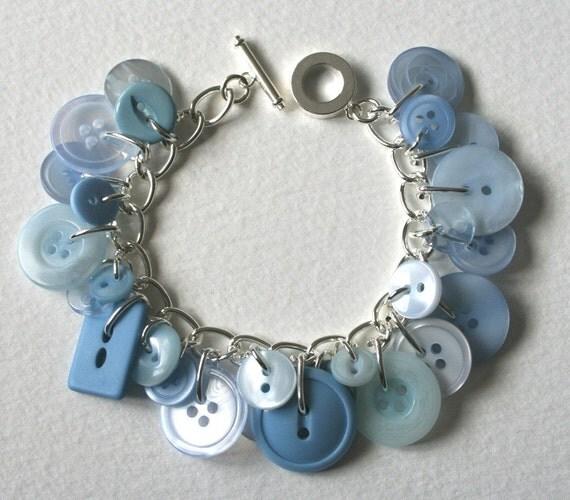 Button Bracelet Crisp Pale Blue