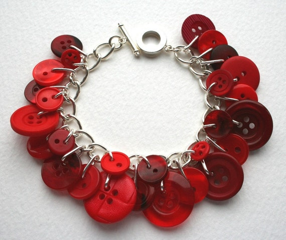 Cherry Red Button Bracelet