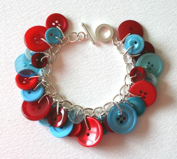 Red and Aqua Button Charm Bracelet