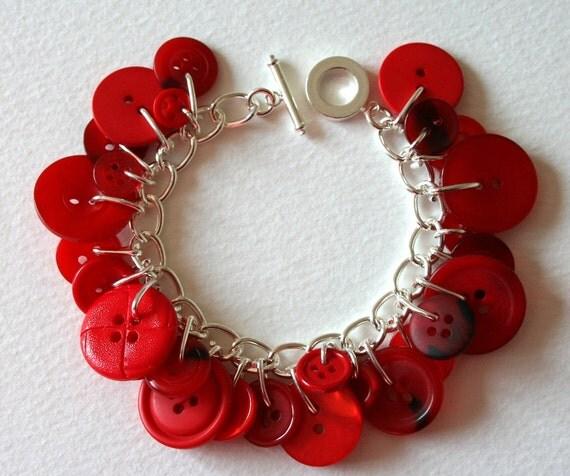 Red Rose Button Bracelet