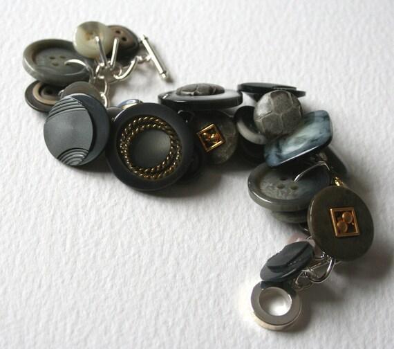 Vintage Button Bracelet Rainy Days Grays