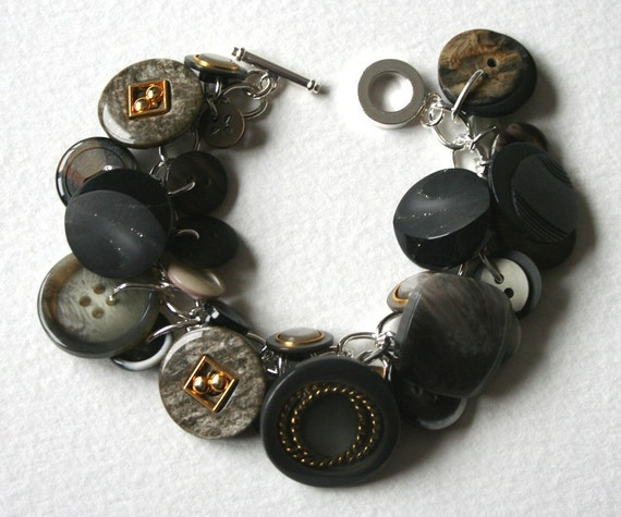 Vintage Button Charm Bracelet Moody Gray Skies
