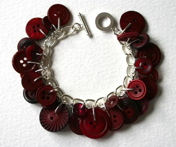 Button Bracelet Dark Berry Red