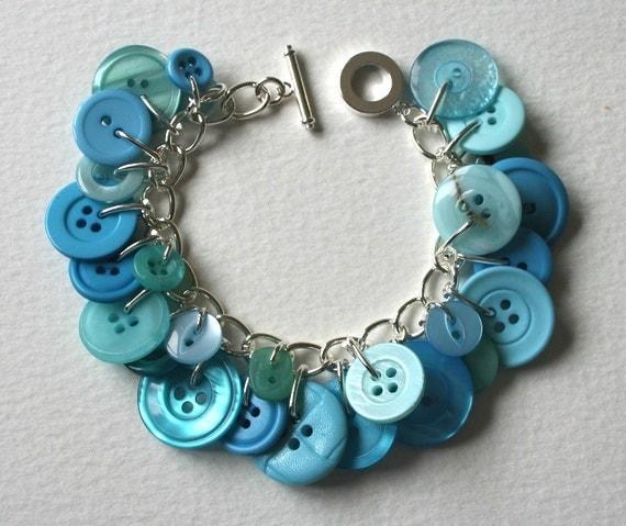 Button Bracelet Aqua Blue