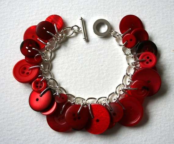 Button Charm Bracelet Cherry Red