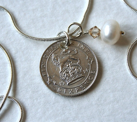 Lucky Sixpence 1914 Pearl Charm Necklace