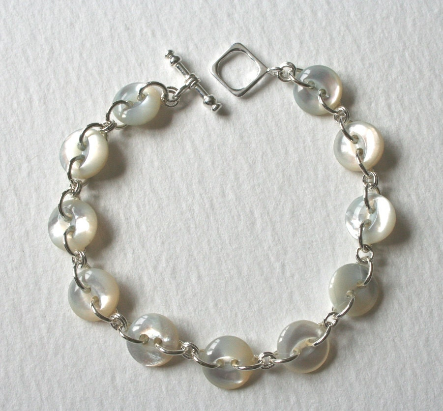 Sterling silver antique mother of pearl button bracelet for Buttons with shanks for jewelry