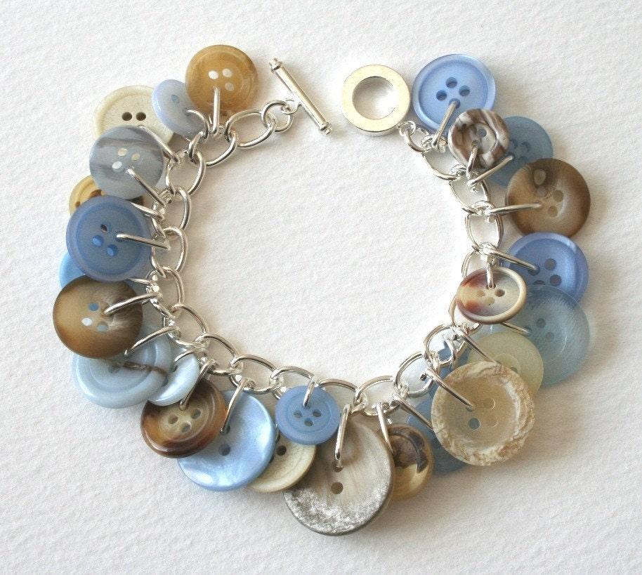 Blue Charm Bracelet: Cream And Cornflower Blue Button Charm Bracelet
