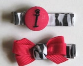 Personalized Initial Hair Clip & Bow-Wild Child Clip Set