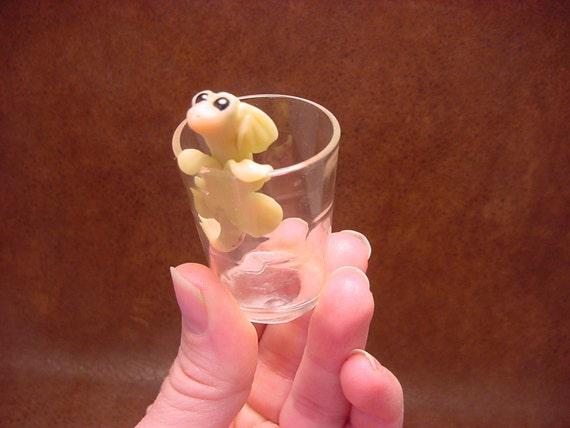 Tiny Sea Dragon ITS EMPTY on Tiny Glass Shire Folk 454 by Cay Fantasy Art