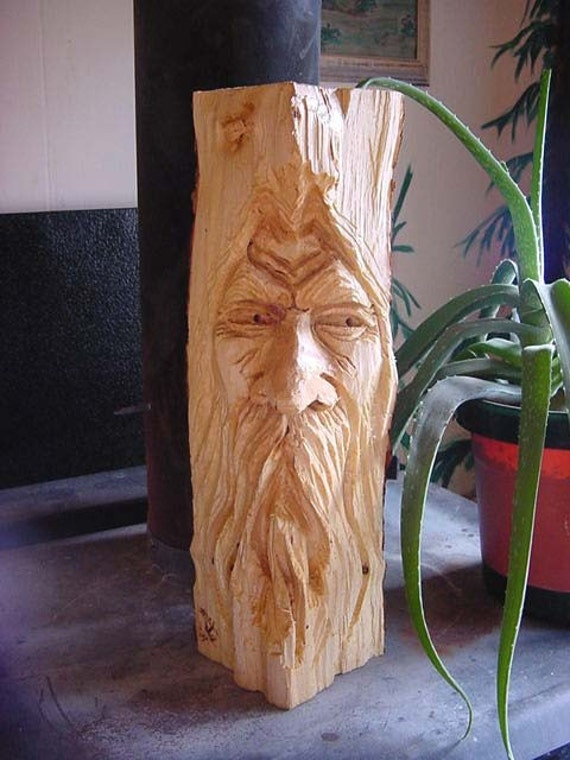Watcher fire wood spirit chainsaw carved wizard the bear guy