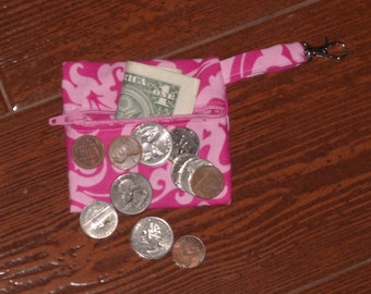 Pink damask coin pouch with swivel hook