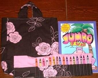 Pink rose crayon roll gift set