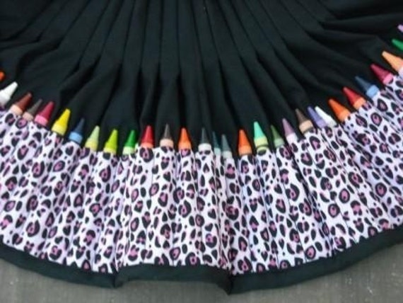 Pink leopard - crayon apron