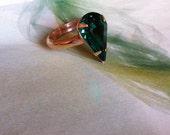 Emerald HandMade Brass Ring -Bohemian Gypsy Style