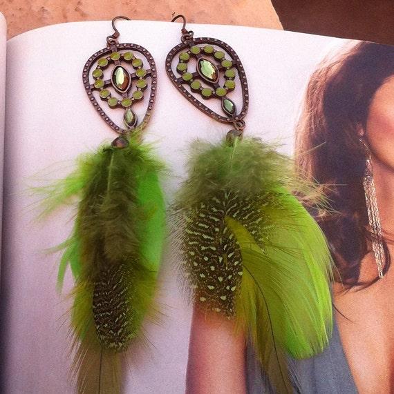 Feather Earrings-Bohemian Gypsy Style-Extra Long