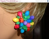 January Discount Earrings Bright Multi Color Plastic Beaded Clip Style Vintage