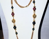 Long 36 Inch Necklace, 3 Chains With  Bead Stations, Gold Classic Vintage Necklace