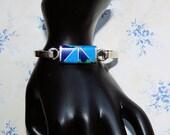 Vintage 925 Bracelet, 38 Grams Silver and Inlaid Bracelet, Cuff Style Sterling Bracelet, Bangle Sterling Silver Bracelet