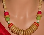 Wooden Bead Vintage Necklace 21 inch, Retro Ladies Jewelry, Boho Necklace Red Green Natural Wood Color