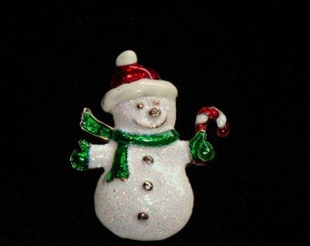 Vintage Snowman Brooch, Enameled Jewelry, Snowman Pin,  Christmas Brooch