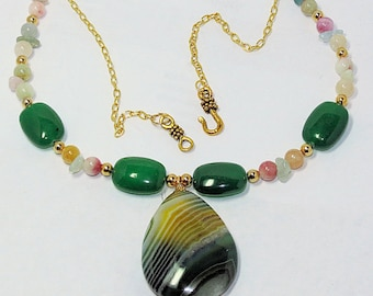 Banded Agate Necklace, Jade, and Morganite Necklace, 19 inch Ladies Necklace, Green Agate Pendant