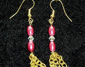 Dangle Earrings, Pink Beads, Crystal and Gold Chain, Hand Made Earrings, Pink and Gold Dangles, Ladies Earrings