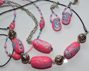 Handmade Polymer Bead Necklace,Pink and Blue Demi Parure, Earring and Necklace set, Ladies Jewelry
