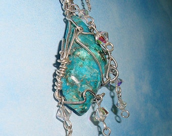 Sterling Silver Turquoise and Crystal Necklace, Turquoise Pendant, Wire Wrapped Jewelry