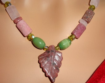Pink and Green Necklace  Earring Set, Rose Quartz, Crystal, Pink Jasper Leaf Focal, Nature inspired Jewelry