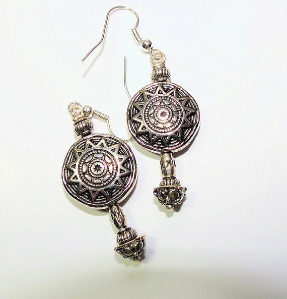 Aztec Star Kissed Dangle Earrings, Silver Long Dangle Earrings, Ladies Long Earrings on Wires