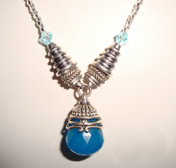 Necklace Silver and Faceted Pear Drop 18 Inch Hand Made