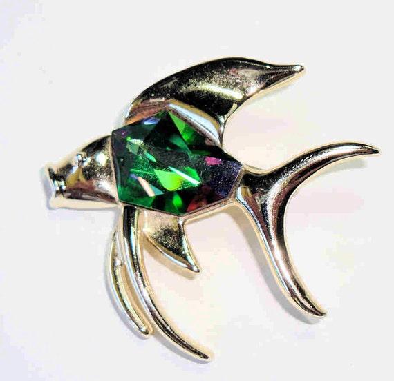 Vintage Angel Fish Brooch, Sarah Coventry Pin, Vintage Tropicana Mystic Stone