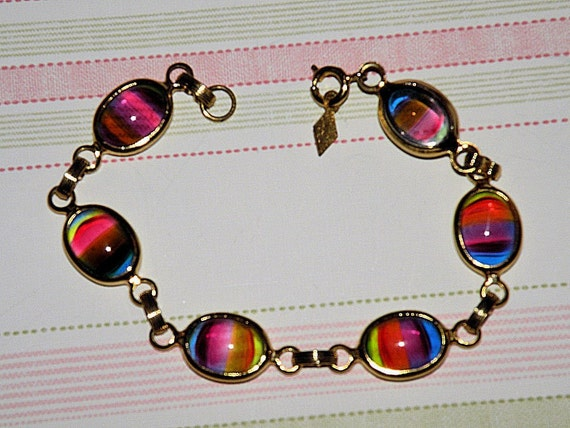 Vintage Sarah Coventry Bracelet, Rainbow Art Glass, Sarah Coventry Vintage Jewelry