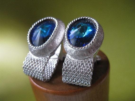 Vintage Swank Tivoli CuffLinks blue crystal