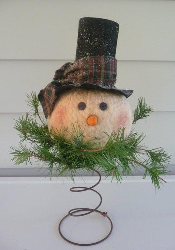 primitive snowman nodder makedo tree topper. Black Bedroom Furniture Sets. Home Design Ideas