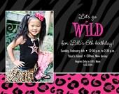 WILD Zebra/Leopard Safari Print Birthday Party Photo Invitation- PRINTABLE