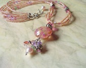 Pink Lampwork Glass Bead and Swarovski Crystal Beaded Handmade Necklace with Sterling Silver charms..TUTTI FRUTTII