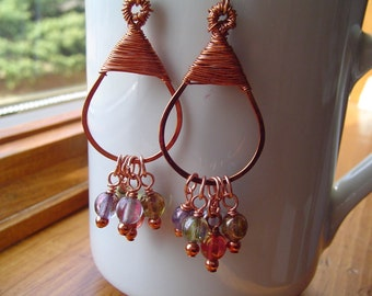 Copper Wire Wrapped Earrings with Glass Beads