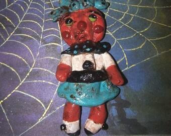 Folk Art Halloween Pumpkin Girl Ornament Doll Ooak Vintage