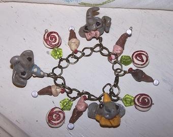 Whimsical Circus Carnival Elephant Candy  Charm Bracelet Ooak