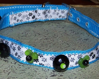 Whimsical Handmade Dog Collar Ooak Beads Jewelry Doggy Necklace
