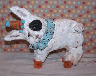 Whimsical Folk Art Bunny Rabbit Clay Pull Toy  OOak Vintage Style